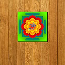 999Store doorhanging OM colourfull art printed wooden framed door sticker (4 x 4 inches)