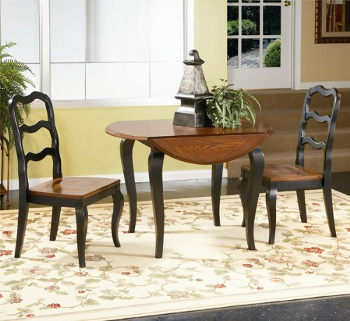 "Antoinette 42"" Round Drop Leaf Dining Table by Bassett Mirror Company - Two-Tone black & oak (D1500-706B)"