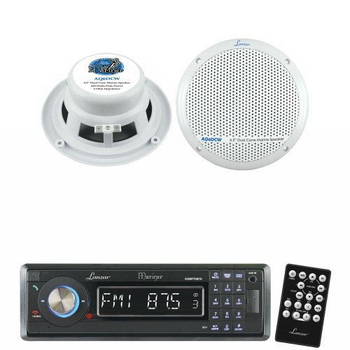 Lanzar Marine Receiver And Speaker System Package For Your Boat, Pool, Deck, Patio, Etc. - Aqmp70Btb Am/Fm-Mpx In-Dash Marine Detachable Face Radio W/Sd/Mmc/Usb Player & Bluetooth Wireless Technology - Aq6Dcw 360 Watts 6.5'' Dual Cone Marine Speakers (Whi