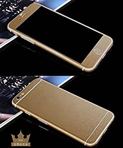 FONOVO Full Body Wrap Brushed Metal Effect Decal Sticker Skin Cover For Apple Iphone 5/5sSE (GOLD)