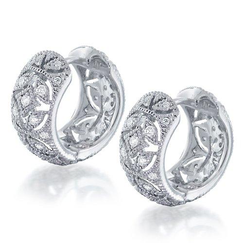 Bling Jewelry Victorian Style Vintage Flower CZ Huggie Earrings