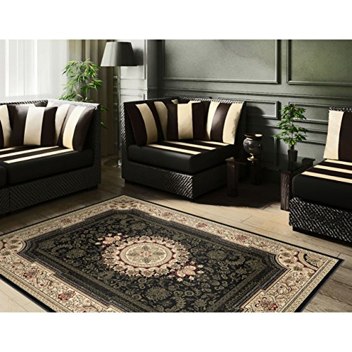 7 Feet 10 Inches By 10 Feet 6 Inches Stain Resistant Black Oriental Print Area Rug- Made From Polypropylene