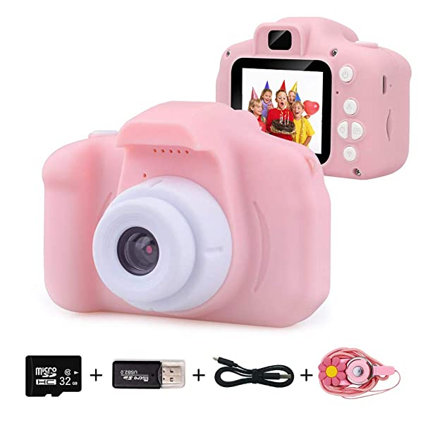 Toy Childrens Camera boy Birthday Gift 2.0 inch Screen with 32GB Card Mini Camera can Charge Children Pink