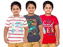 Menthol Boys Round Neck Tshirt (Pack of 3) (5-6 Years)