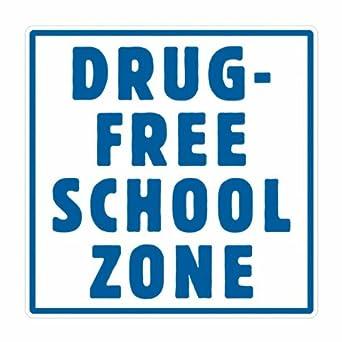 "Tapco SZ-1 Engineer Grade Prismatic Square School Sign, Legend ""DRUG FREE SCHOOL ZONE"", 36"" Width x 36"" Height, Aluminum, Blue on White"