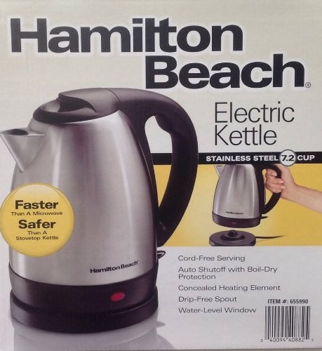 Brand New Hamilton Beach Stainless Steel 7.2 Cup Electric Tea Kettle