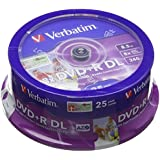 Verbatim 43667 8.5GB 8x DVD+R Double Layer Inkjet Printable 25 Pack Spindle