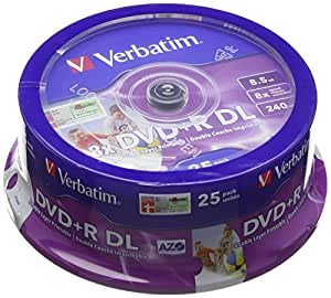 Verbatim 43667 DVD+R Double Layer 8X Printable Surface 8,5 Go Spindle de 25