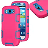 myLife (TM) Hot Pink and Sky Blue - Rugged Robot Armor Series (3 Piece Neo Hybrid Flexi Case + Urban Body Armor... by myLife Brand Products