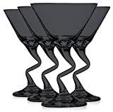 Libbey Black Z Shaped Stem Martini Glasses 9 oz. set of 4 - Additional Vibrant Colors Available by TableTop King