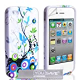 iPhone 4 / 4S Blue And Green Floral Silicone Caseby Yousave Accessories