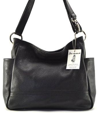 """SAC DESTOCK - Sac à Main CUIR """"Grainé"""" - Réf: COLOGNE / Nouvelle Collection / Promotion / Handbag Leather (NOIR)"""