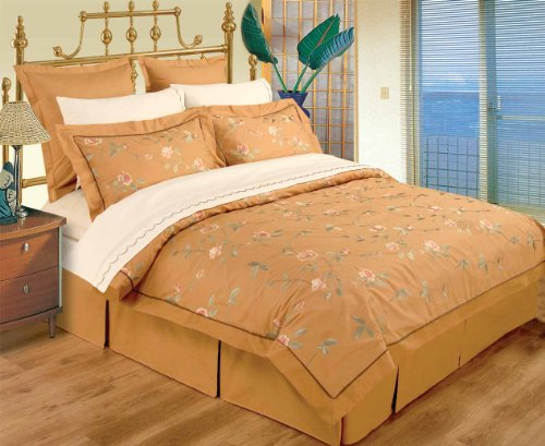 10 Piece King / Cal King Gold 100% Cotton High Quality Emboridery Duvet Cover Bedskirt And Sheets Set