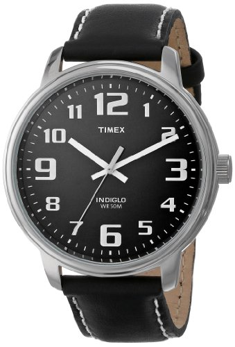 Timex Men'S T28071 Easy Reader Black Leather Strap Watch front-727532