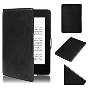 Swees® Housse Étui en cuir pour Amazon Kindle Paperwhite 2014 2013 2012, fermeture magnétique avec mise en veille automatique, protection écran inclus - Noir