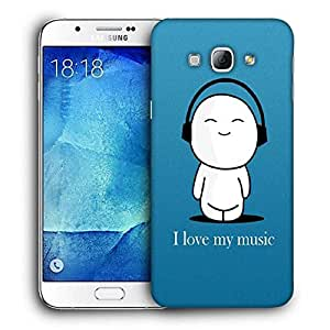 Snoogg I Love My Music Printed Protective Phone Back Case Cover For Samsung Galaxy A8