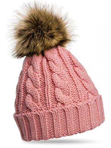 CASPAR-Bonnet-fourr-hiver-pour-femme-bonnet-tricot-avec-torsades-et-gros-pompon-en-fourrure-plusieurs-coloris-MU104