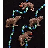 Grizzly Bear With Fish Mardi Gras Bead Necklace Spring Break Cajun Carnival Festival New Orleans