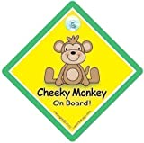 Cheeky Monkey On Board Cheeky Monkey On Board Car Sign Cheeky Monkey GREEN Car SignBaby on Board Sign Baby on Board Decal Bumper Sticker Baby Sign Baby Car Sign