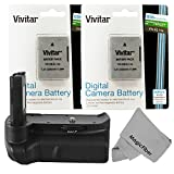 Vivitar Battery Grip for Nikon D3300 D3200 D3100 DSLR Cameras + 2 Vivitar EN-EL14 / EN-EL14a Batteries (Nikon EN-EL14 / EN-EL14a Replacements) + MagicFiber Microfiber Cleaning Cloth