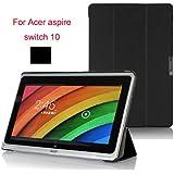 【VSTN】Acer Aspire Switch 10 専用保護ケース 超薄型 超軽量 マグネット開閉式 三つ折 高級PU レザーケース (ブラック)