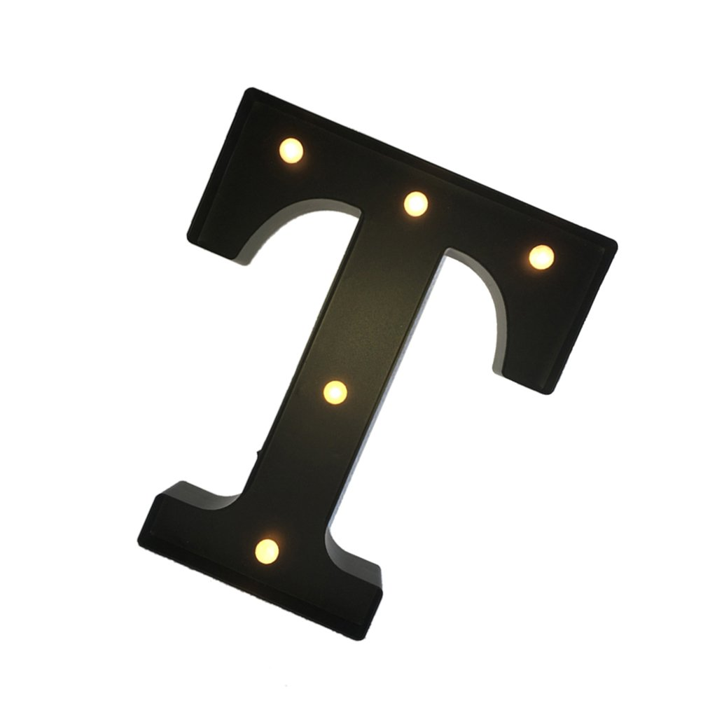 Black 12inch LED Vintage Letter Light Circus Style Alphabet Light Up Signs A - Z - Black T, 30cm 3