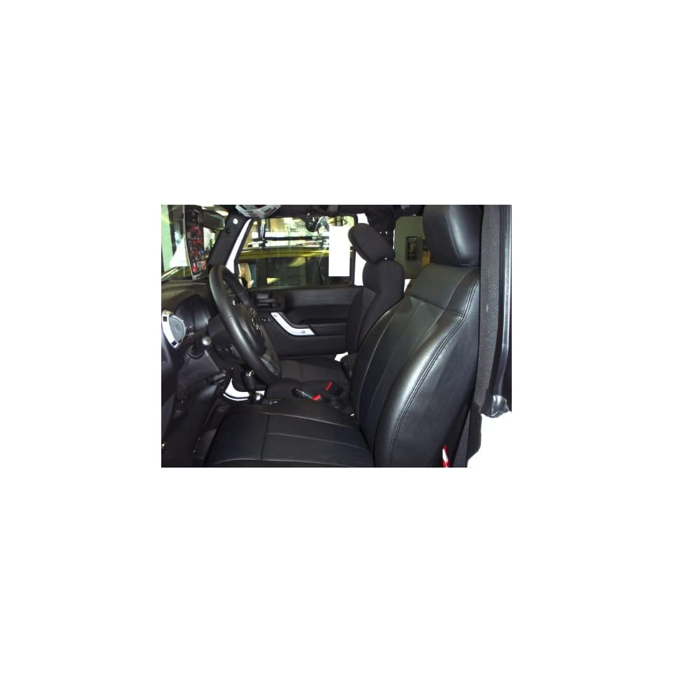 2013 Jeep Wrangler 4 Door Sport/Sahara/Rubicon Clazzio Leather Seat Covers   Black   Full Set   Front and Rear Row