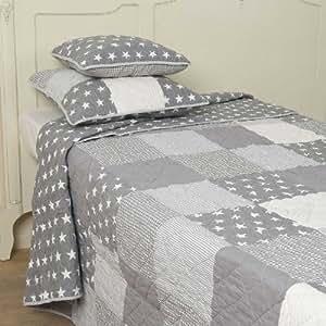 bett berwurf tagesdecke grau sterne ohne deko ca 140 x 220 cm k che haushalt. Black Bedroom Furniture Sets. Home Design Ideas