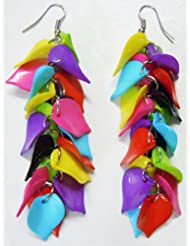 Multicolor Leaf Cluster Earrings - Acrylic