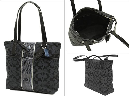 COACH Signature Python Stripe Tote Shoulder Handbag F25706