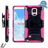 NageBee(TM) - Samsung Galaxy Note 4 - Hybrid Armor Stand Case With Holster and Locking Belt Clip + {LCD Screen Protector Shield(Ultra Clear) + Touch Screen Stylus} (Holster Stand Pink)