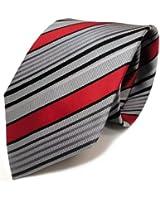 Mexx - Cravate à rayures - gris rouge noir - soie