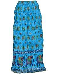 HAVYA FASHION Women's Jaipuri Print Cotton Long Skirt (Sky Blue, 34)