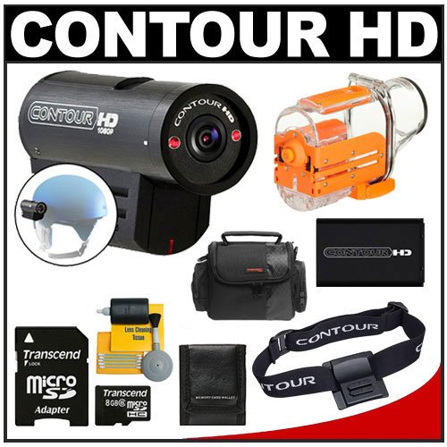 Contour HD Full 1080p Helmet Wearable Camcorder Video Camera with 8GB Card + Waterproof Case + Head Strap Mount + Battery + Case + Accessory Kit for Water Sports