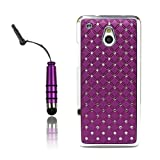 Poposh Mobile Phone Accessory For HTC ONE MINI M4 2IN1 1X 3D Bling Bling Star Rhinestone Diamond Protective Hard Back Case Cover Crystall Shell Mirror + 1x Mini Stylus Touch Pen Writing Pen- Lila Purple