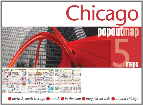 Chicago PopOut Map - pop-up city street map of Chicago - folded pocket size travel map with transit map (Footprint Popout Maps)