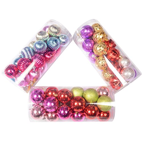 Generic 24 Pcs Chic Glitter Christmas Balls Baubles Xmas Tree Hanging Ornament Christmas Decor