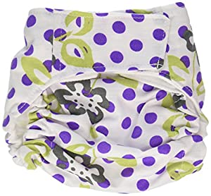 CuteyBaby That's a Wrap Diaper Cover, Purple Lime Floral, Medium