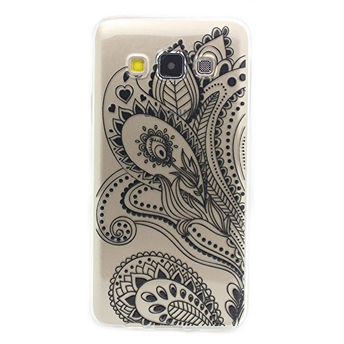 JIAXIUFEN TPU Gel Protettivo Skin Custodia Protettiva Shell Case Cover Per Samsung Galaxy A3 A300 - Henna Black Floral Paisley Flower Mandala