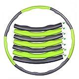 スポーツ フラフープ 運動 フラフープ ダイエット用 健康のために 組み立て式 ジョイントパーツ7本(グリーン+グレー)