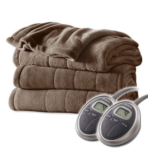 Sunbeam Channeled Velvet Plush Electric Heated Blanket King Cocoa (King Electric Blanket Sunbeam compare prices)