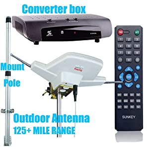 Combo 6: Sunkey Converter Box + Outdoor Antenna 700 +Mount Pole, Package Deal