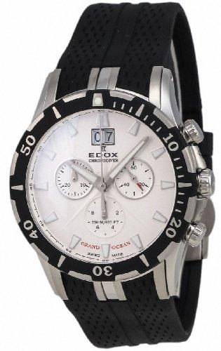 Edox Grand Ocean Chronodiver Big Date Chronograph Stainless Steel Mens Luxury Sport Watch 10022-3-AI