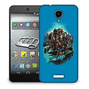 Snoogg Blue Background with Monsters Designer Protective Back Case Cover For MICROMAX Q416