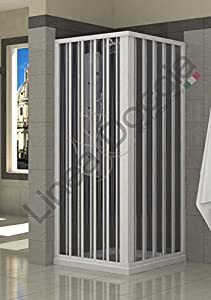 Mampara de ducha angular en pvc dos hojas 70x70 cm for Box doccia 70 x 70 leroy merlin