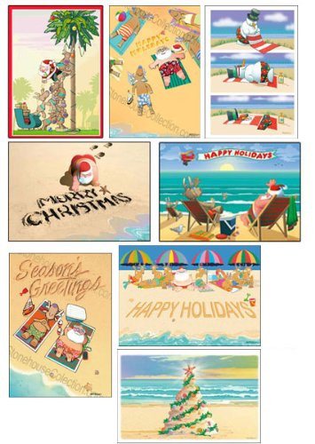 Beach Christmas Card Variety Pack - 24 cards