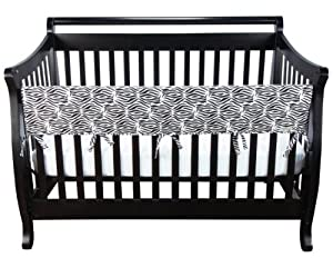 Trend Lab Cotton CribWrap Wide Rail Cover for Crib Front or Back, Black and White Zebra