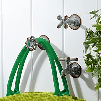 Vintage Garden Faucet Iron Wall Hooks - Set of 3