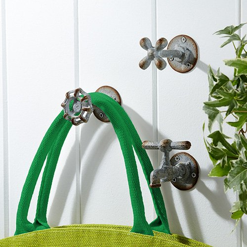 Vintage Garden Faucet Iron Wall Hooks - Set of 3 0
