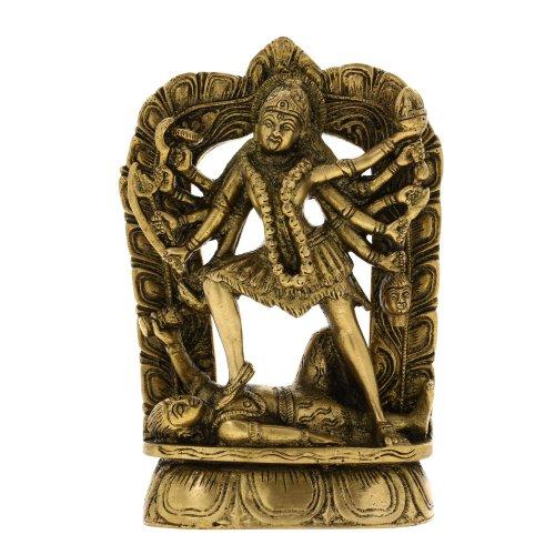 Hindu Dea Kali Statue in ottone per la decorazione domestica 10,16 x 3,81 x 16,51 centimetri